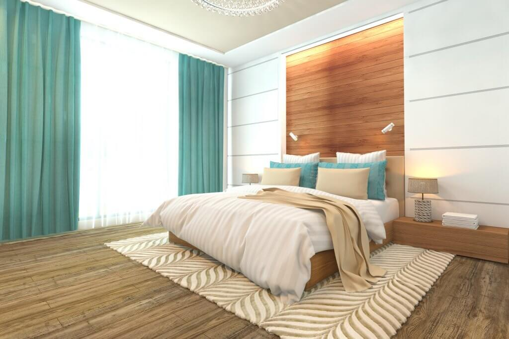 Wooden bedroom interior modern design