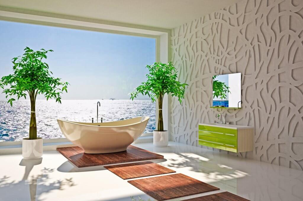 Modern interior of bathroom with sea view