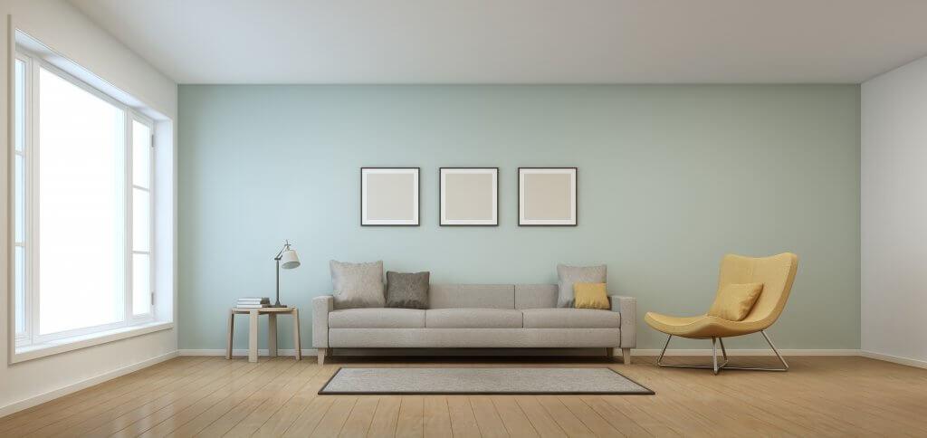 Living room in modern house - 3D rendering