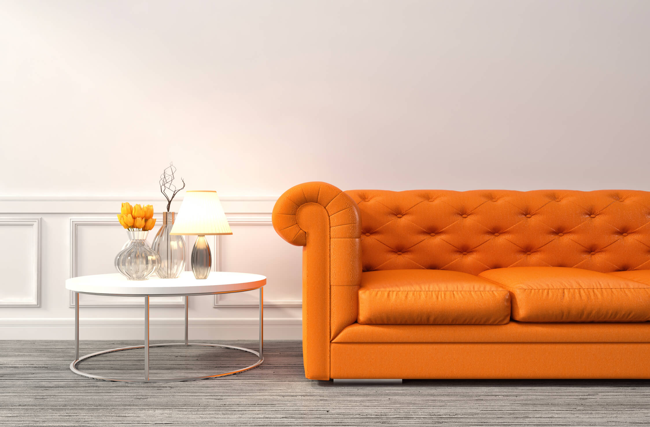 interior with orange sofa. 3d illustration