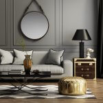 Contemporary elegant grey living room